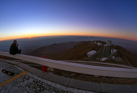 Astronomer silhouette and La Silla sunset