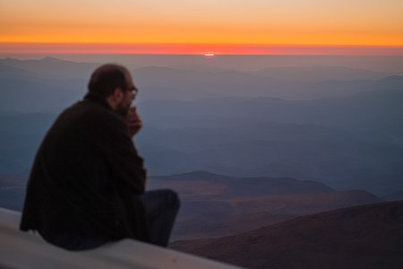 Astronomer contemplates the night ahead of observation at La Silla