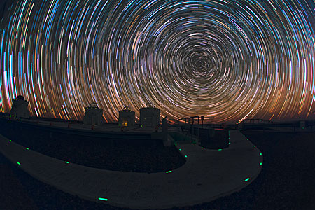 Startrails over the VLT platform