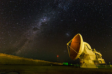 ALMA antenna at night.