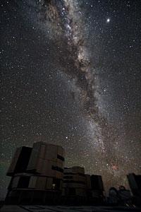 Gruppenbild des VLT mit unserer Milchstraße