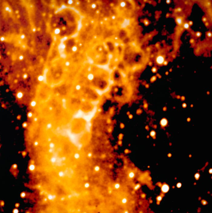 Detail of the honeycomb structure around SN 1987A