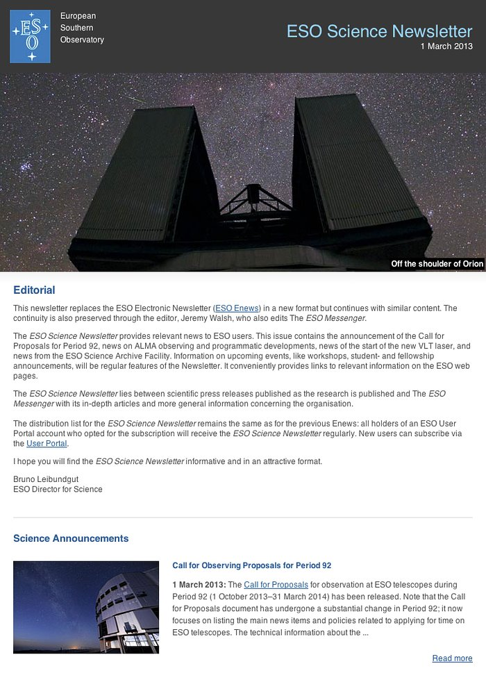 ESO Science Newsletter — March 2013