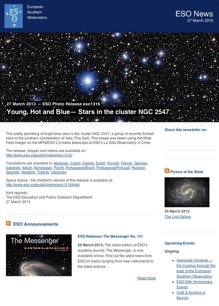 ESO News Newsletter — 27 March 2013