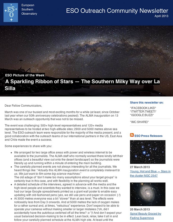 ESO Outreach Community Newsletter — April 2013