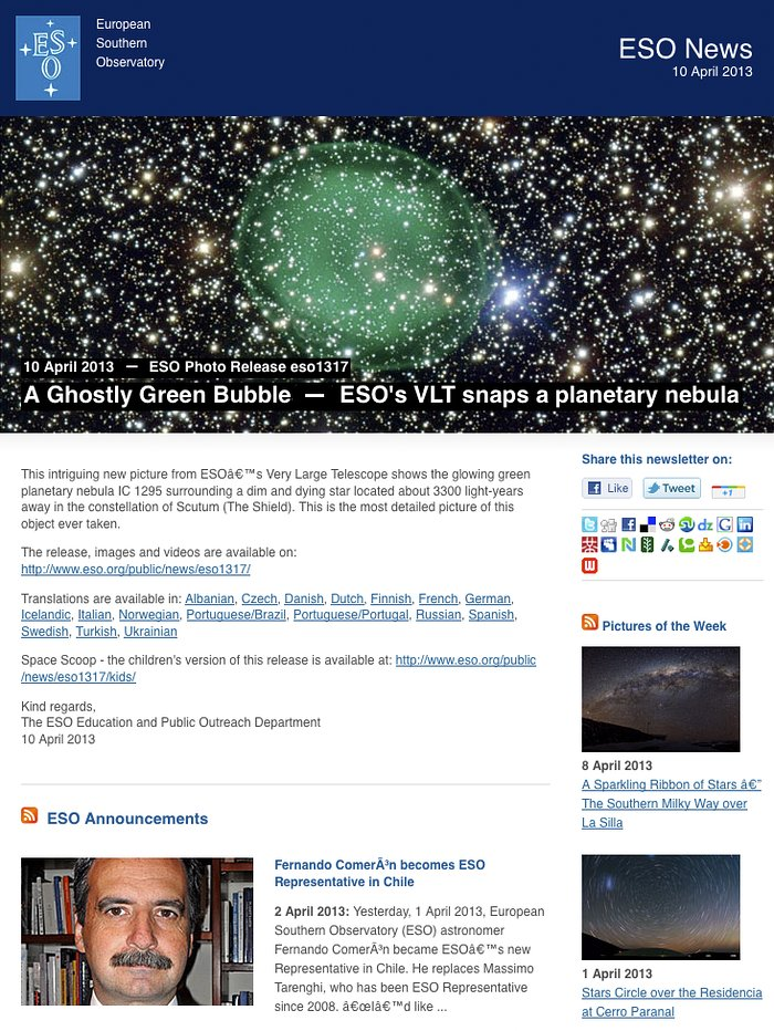 ESO News Newsletter — 10 April 2013