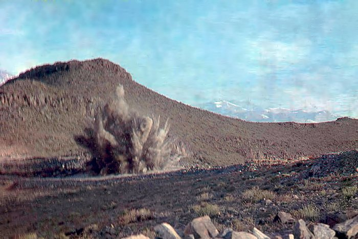 Controlled explosion during construction at La Silla