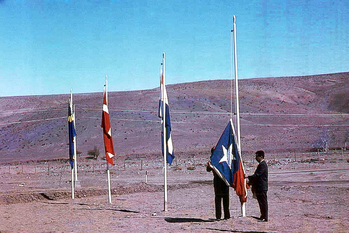 Raising the Chilean flag during La Silla opening ceremony.