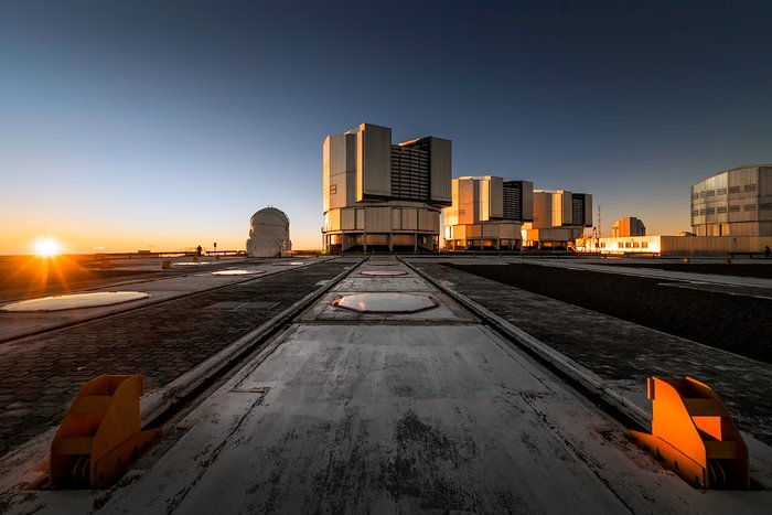 Telescopes at sunset