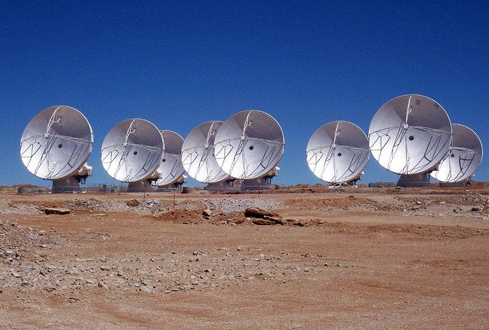 Eight ALMA antennas on Chajnantor*