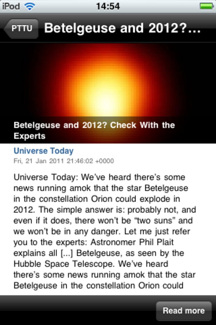 Screenshot of the free Portal to the Universe app