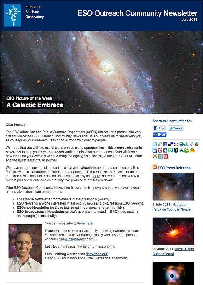 Screenshot of the ESO Outreach Community Newsletter