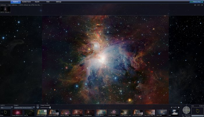 Screenshot of an ESO image of the Orion Nebula shown in Microsoft's WWT