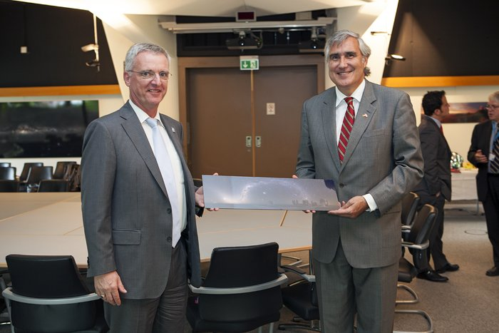 Chilean ambassador to Germany, Mr. Jorge O'Ryan Schütz, during his visit to ESO Garching