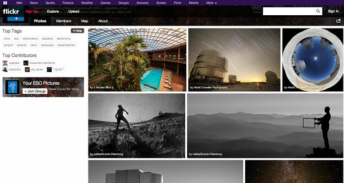 "Screenshot der ""Your ESO Pictures""-Flickrgruppe"