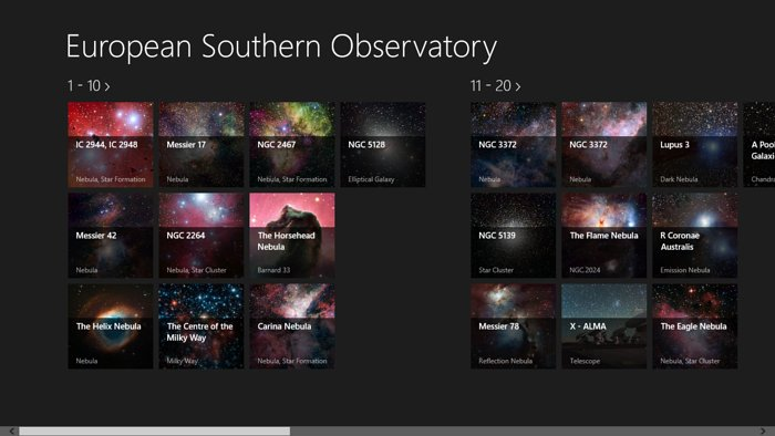 "Screenshot der Bildübersicht der ""European Southern Observatory""-Windows-App"