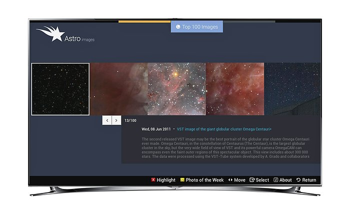 Screenshot of Astroimages Application for Smart TVs