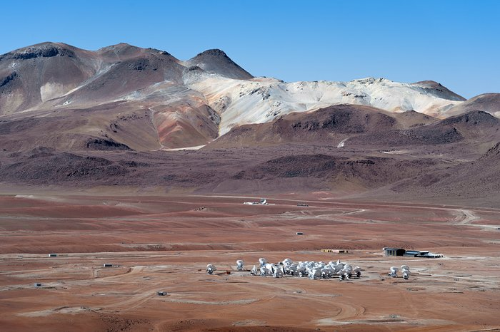 ALMA's dishes huddle together in the desolate landscape of Chile's Atacama Desert