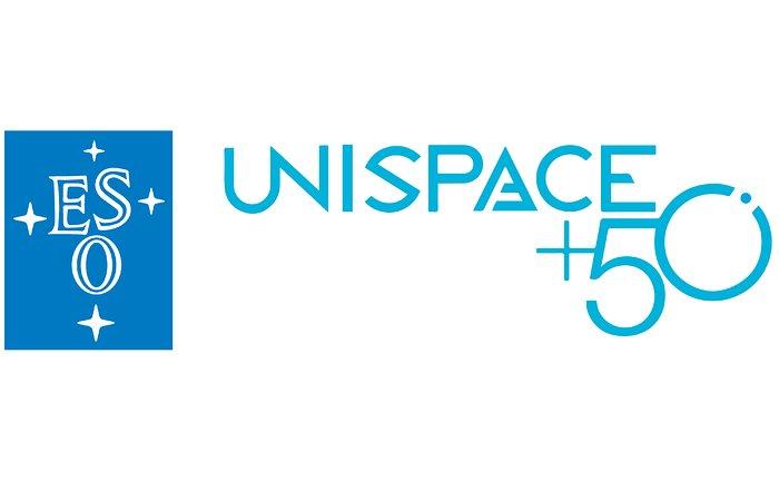 Imagem composta dos logotipos do ESO e do UNISPACE+50