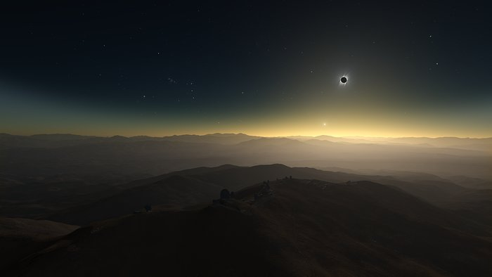 Screenshot from ESOcast 170 showing a clear-weather simulation of the 2019 total solar eclipse