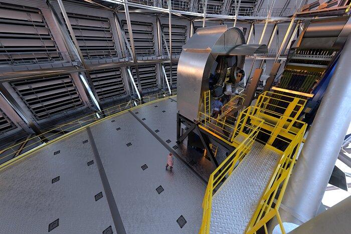 Ilustración de una de las estaciones prefocales del ELT dentro de la cúpula del telescopio