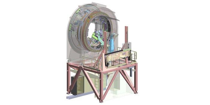 Rappresentazione ingegneristica della prima stazione prefocale dell'ELT