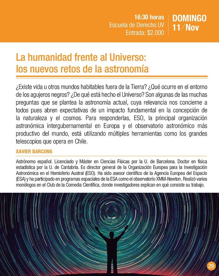 """Charla """"La humanidad frente al Universo: los nuevos retos de la astronomía"""""""