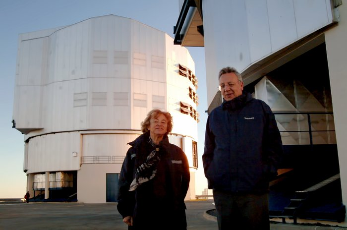 Catherine Cesarsky and Philippe Busquin at Paranal