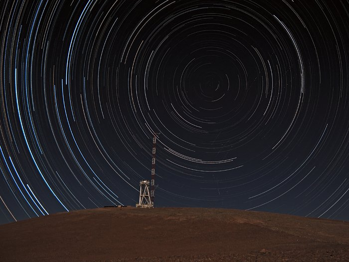 Star trails over Cerro Armazones summit