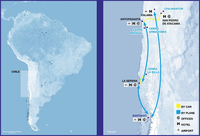 ESO Observatories Topographic Route Map