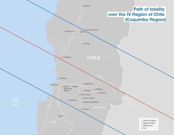 El eclipse total de sol en Chile