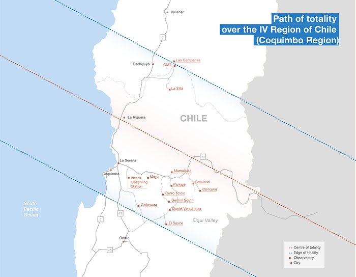 Total solar eclipse path in Chile