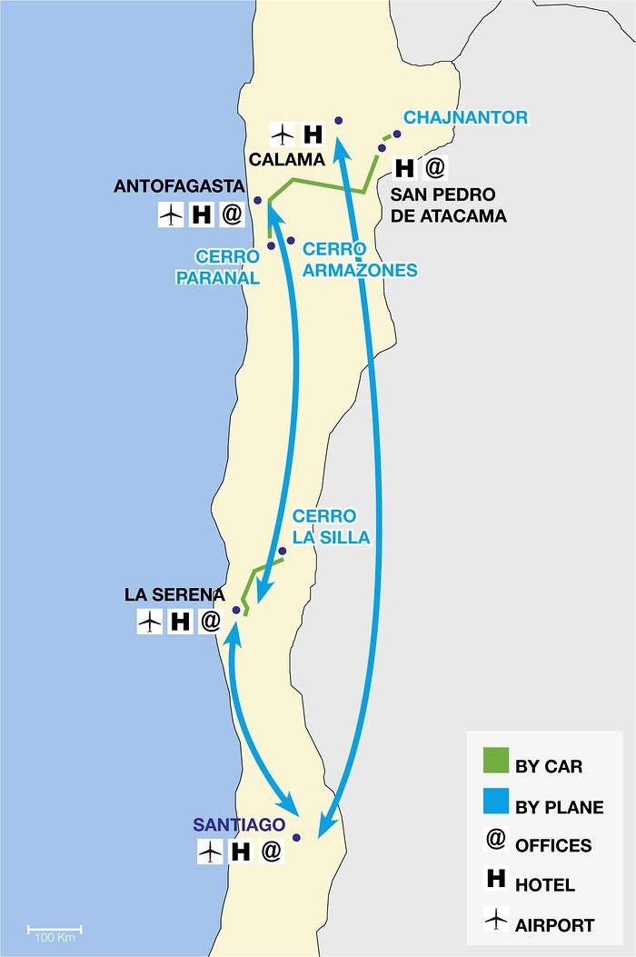 ESO observatories route map