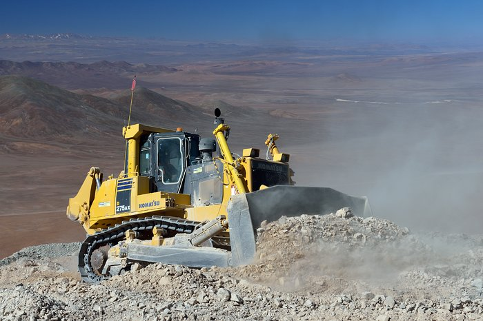 A bulldozer in the desert
