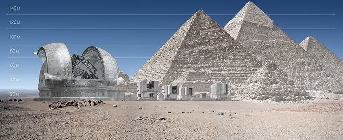 ELT and VLT vs Giza Pyramids (artist's impression)