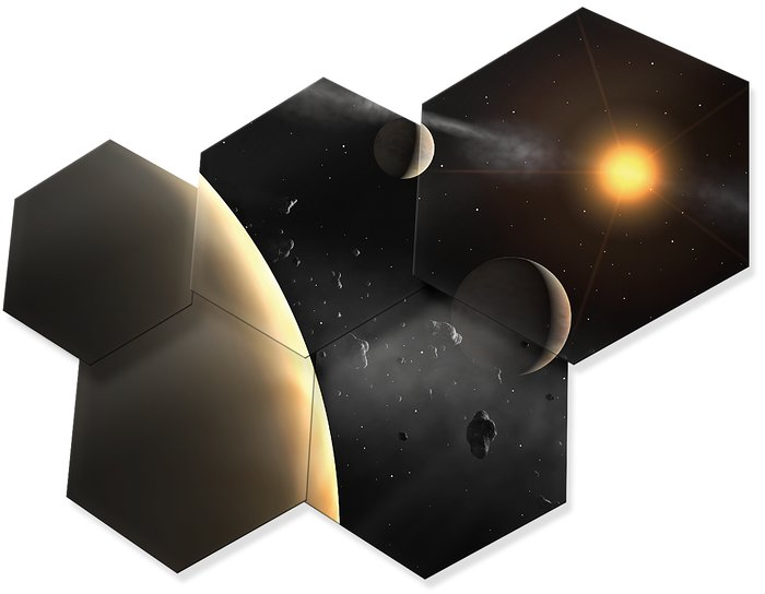 Artwork showing some hexagonal mirror pieces of E-ELT