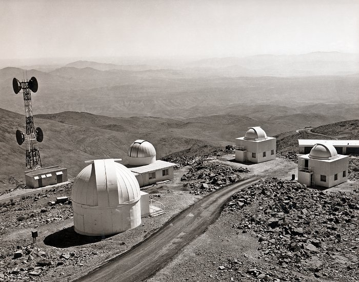 View across the La Silla Observatory in the 1980s