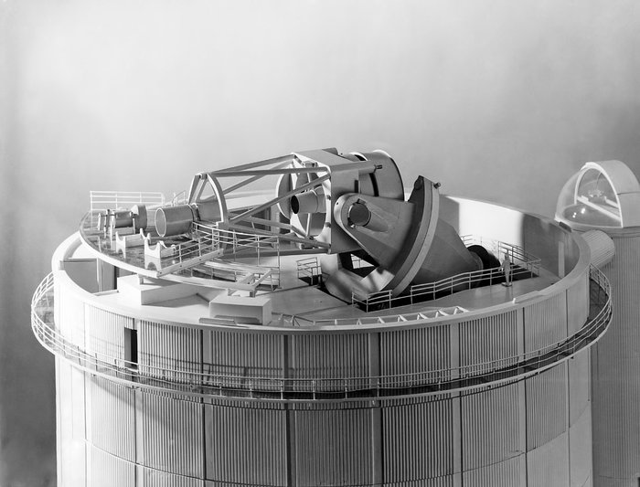 A lateral view of the ESO 3.6-metre telescope model