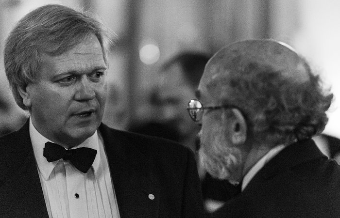 Brian Schmidt and Michel Mayor at the ESO 50th anniversary gala event