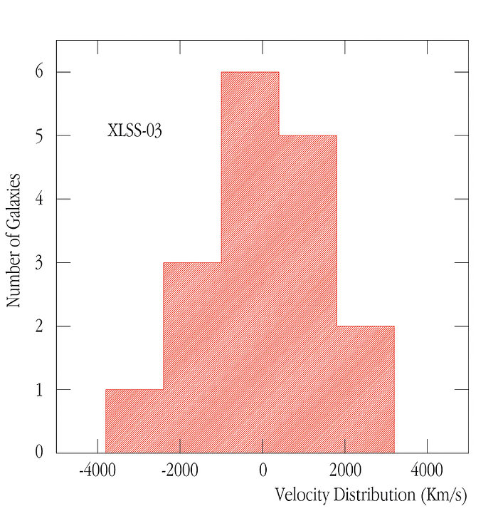 Velocity Distribution of the XLSS-03 Cluster