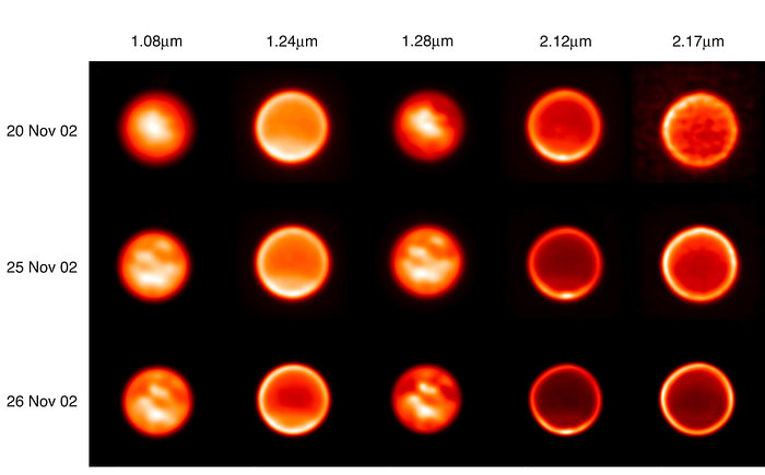Images of Titan on November 20, 25 and 26, 2002 Through Five Filters (VLT YEPUN + NACO)