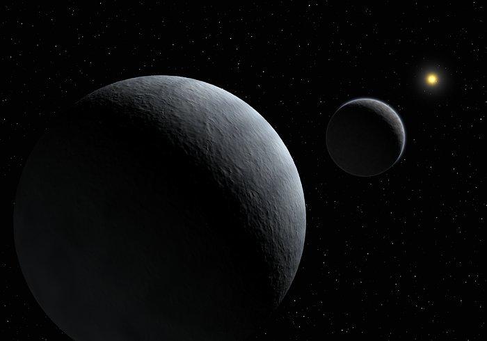 Impresión artística del sistema Plutón - Caronte