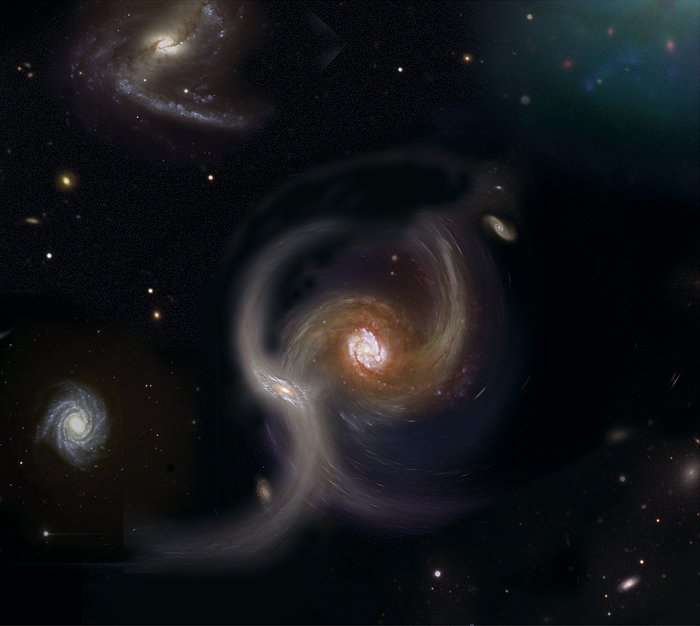 Collision between galaxies (artist's impression)