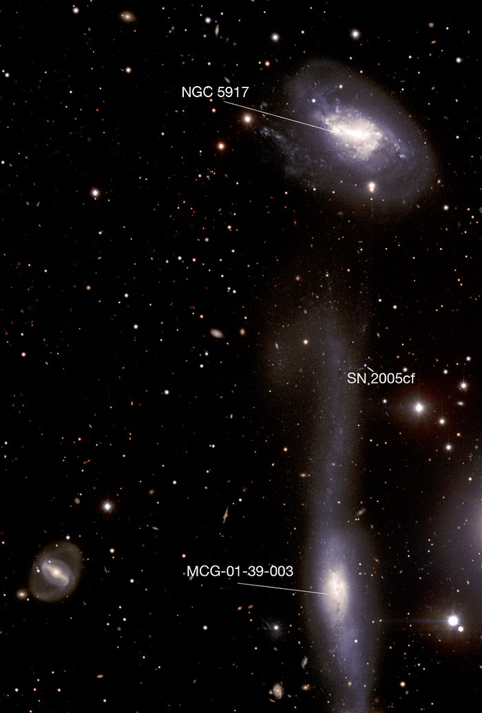 The Hooked Galaxy and its Companion - annotated image