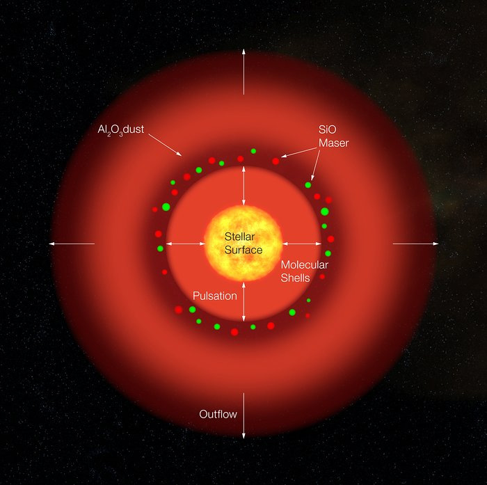 Structure of the Pulsating Red Giant S Ori (artist's impression)
