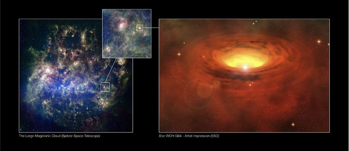 A thick belt around a massive star in another galaxy