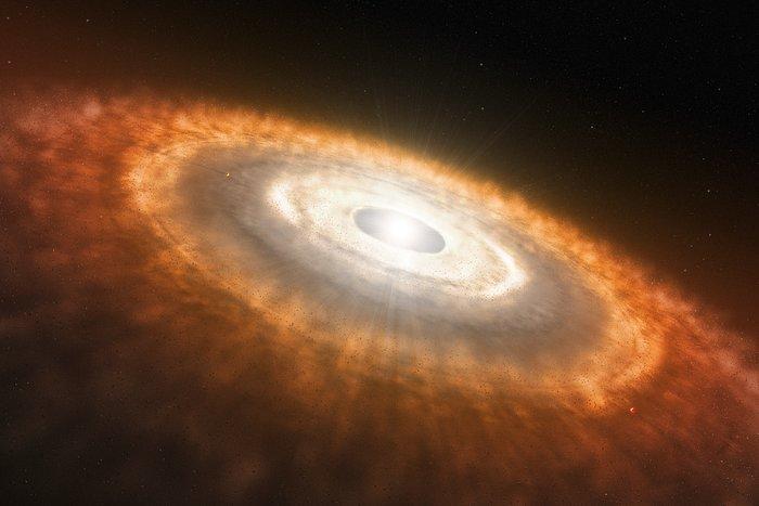 Protoplanetare Scheibe um einen lithiumbrennenden Stern (künstlerische Darstellung)