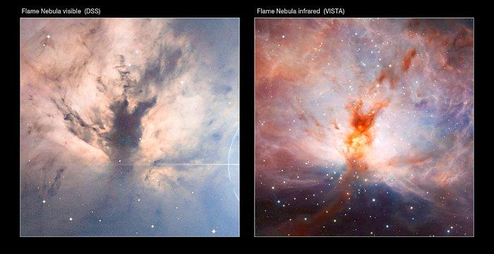 Comparación en lo visible/infrarrojo de la imagen de VISTA de la Nebulosa de la Llama