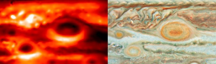 Jupiter's Storms: Temperatures and Cloud Colours