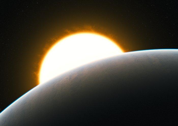 Planeta con una súper tormenta (impresión artística)